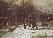 Vincent Van Gogh The Parsonage Garden at Nuenen in the Snow oil painting picture wholesale